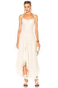 Alexander Mcqueen Asymmetrical Lace Dress In Neutrals,white