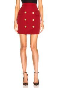 Balmain Button Front Mini Skirt In Red
