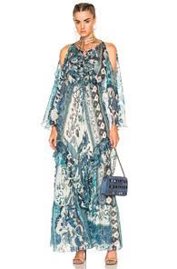 Roberto Cavalli Asymmetrical Dress In Blue,floral