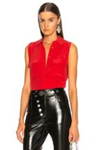 Equipment Sleeveless Slim Signature Blouse In Red