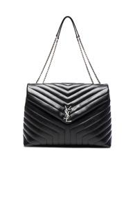 Saint Laurent Slouchy Large Monogramme Shoulder Bag In Black