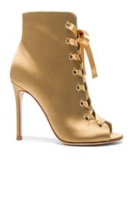 Gianvito Rossi Satin Marie Lace Up Booties In Yellow