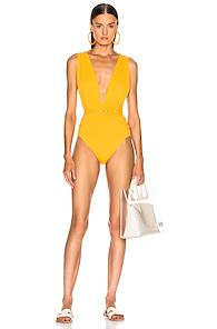 Nicholas Plunge Ruched Swimsuit In Orange
