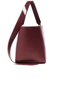 Calvin Klein 205w39nyc Luxe Calf Leather Stripe Link Bucket Bag In Red