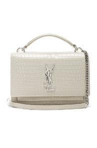 Saint Laurent Sunset Monogramme Crossbody Bag In Metallic,white