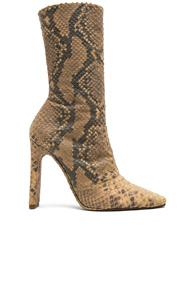 Yeezy Season 6 Python Embossed Ankle Boots In Animal Print,brown
