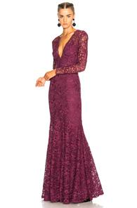 Zuhair Murad Long Plunging Neckline Guipure Lace Dress In Purple