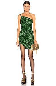 Saint Laurent One Shoulder Dress In Green,polka Dots