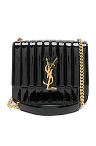 Saint Laurent Large Patent Monogramme Vicky Chain Bag In Black