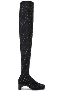 Alyx Embellished Blondie Thigh High Boots In Black