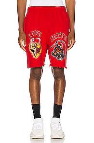 Warren Lotas Graphic Sweat Short In Red