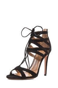 Aquazzura Beverly Hills Suede Sandals In Black