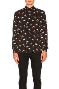 Saint Laurent Printed Shirt In Black,animal Print