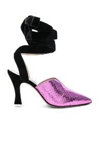 Attico Snakeskin Embossed Olivia Heels In Metallics,pink,animal Print