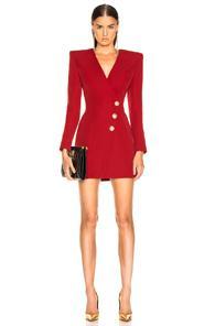 Balmain Wrap Blazer Dress In Red