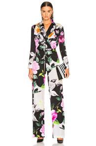 Off-white Floral Coulisse Jumpsuit In Black,floral,pink