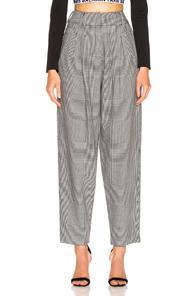 Balmain High Waisted Check Trousers In Black,plaid,white