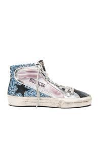 Golden Goose Suede Slide Sneakers In Purple,blue,metallics