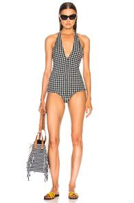 Rachel Comey Lomita Swimsuit In Checkered & Plaid,black,white