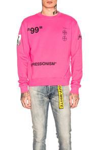 Off-white Boat Self Crewneck Sweatshirt In Pink
