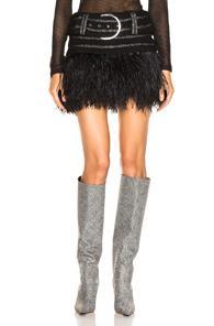 Balmain Belted Feather Hem Skirt In Black,metallic,stripes