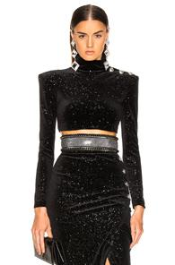 Balmain Star Speckled Crop Top In Black,stars