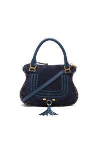 Chloe Medium Suede & Leather Marcie Satchel In Blue