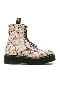R13 Embroidered Leather Stack Boots In White,floral