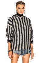T By Alexander Wang Fringe Hem Hoodie In Gray,stripes