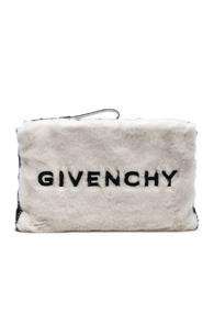 Givenchy Large Faux Fur Gv3 Logo Pouch In White