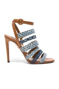 Aquazzura Braided Denim Tyra Heels In Blue