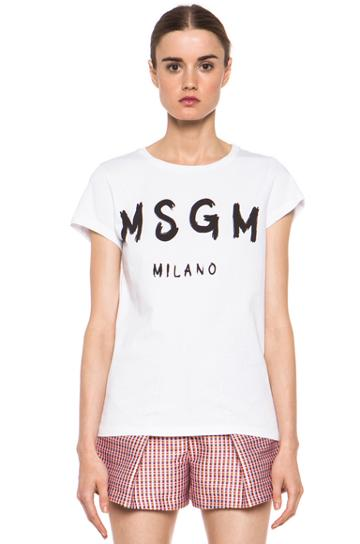 Msgm Logo Tee In White