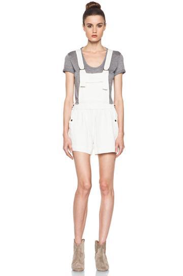 Etoile Isabel Marant Jason Fluffy Linen Overalls In White