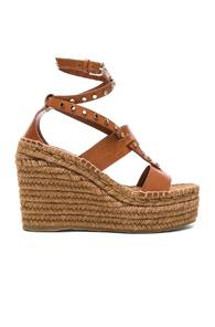 Jimmy Choo Leather Danica Wedges In Brown