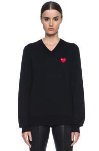 Comme Des Garcons Play Wool Jersey Intarsia Red Emblem Sweater In Black
