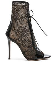 Gianvito Rossi Lurex & Patent Loulou Lace Up Ankle Boots In Black