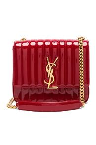 Saint Laurent Large Patent Monogramme Vicky Chain Bag In Red
