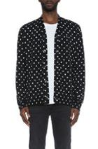 Comme Des Garcons Play Dot Print Wool Cardigan With Black Emblem In Black,geometric Print