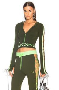 Fenty By Puma Laced Zip Crop Hoodie In Green