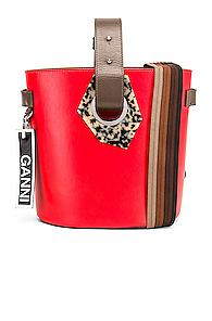 Ganni Leather Bag In Red