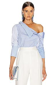 Monse Asymmetrical Flap Collar Shirt In Blue,stripes,white