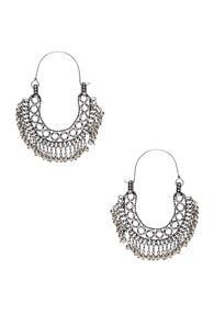 Saint Laurent Beaded Hoop Earrings In Metallic