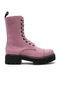Alexachung Heavy Tread Flat Leather Boots In Purple