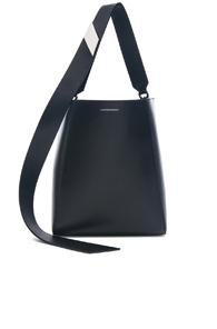 Calvin Klein 205w39nyc Luxe Calf Leather Stripe Link Bucket Bag In Black