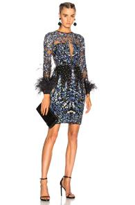 Zuhair Murad Long Sleeve Fully Beaded Feather Detail Mini Dress In Blue,floral