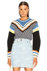 Versace Printed Crewneck Sweater In Abstract,stripes,blue,black,white,yellow,orange