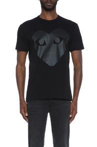 Comme Des Garcons Play Printed Heart Cotton Tee In Black
