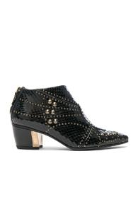 Rodarte For Fwrd Embossed Studded Leather Booties In Animal Print,black