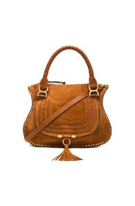 Chloe Medium Suede & Leather Marcie Satchel In Brown