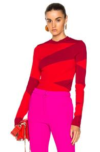 Oscar De La Renta Striped Sweater In Geometric Print,pink,red,stripes